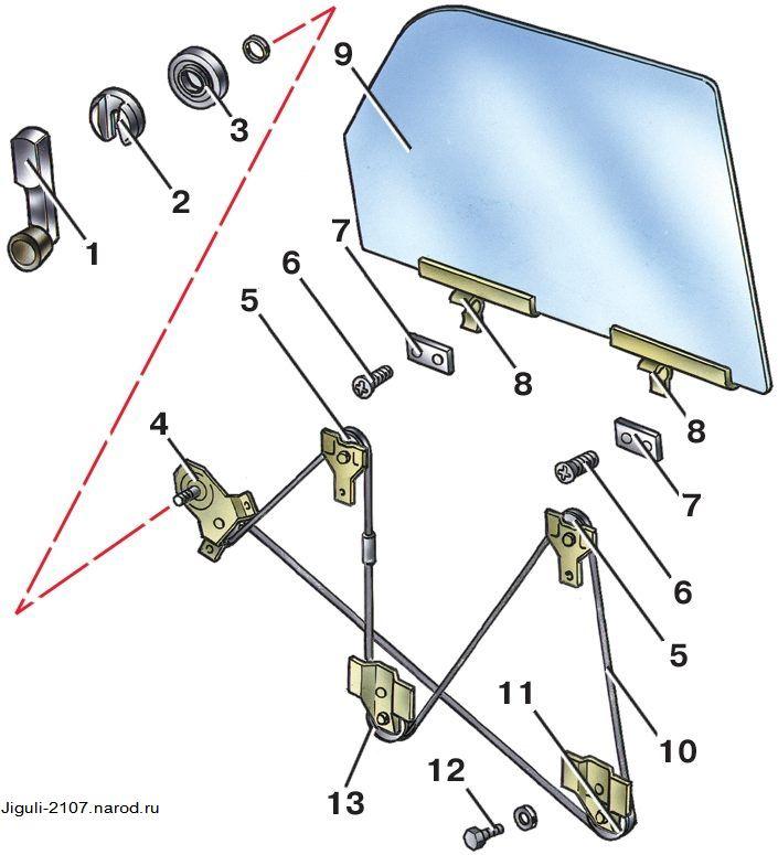 Схема тросика двери уаз